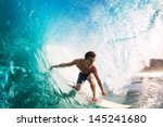 surfer on blue ocean wave... | Shutterstock . vector #145241680