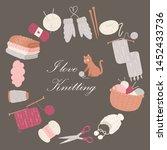 knitting i love vector poster.... | Shutterstock .eps vector #1452433736