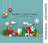 merry christmas happy new year... | Shutterstock .eps vector #1452444020