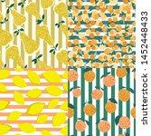 set of fruits seamless pattern... | Shutterstock .eps vector #1452448433