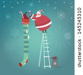 cute santa claus on ladder... | Shutterstock . vector #145245310