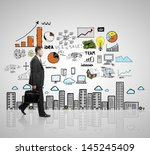 walking businessman with... | Shutterstock . vector #145245409