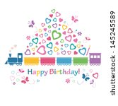 cute happy birthday train card | Shutterstock .eps vector #145245589