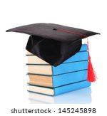 grad hat with books isolated on ... | Shutterstock . vector #145245898