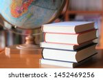 close up many books stacked on... | Shutterstock . vector #1452469256