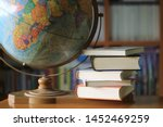 close up many books stacked on... | Shutterstock . vector #1452469259