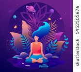 woman sitting in lotus position ... | Shutterstock .eps vector #1452505676