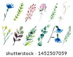 hand drawn watercolor... | Shutterstock . vector #1452507059