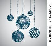 christmas background with balls.... | Shutterstock .eps vector #1452520739