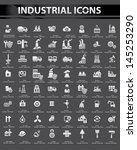 industrial icon set black... | Shutterstock .eps vector #145253290