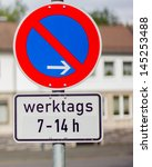 no parking sign in germany | Shutterstock . vector #145253488