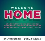 welcome home banner  retro text ... | Shutterstock .eps vector #1452543086