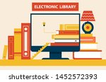 electronic library abstract... | Shutterstock . vector #1452572393