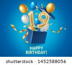 happy birthday banner with blue ... | Shutterstock .eps vector #1452588056