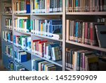 blurred background. library ... | Shutterstock . vector #1452590909