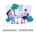 two girls sit in cafe and drink ... | Shutterstock .eps vector #1452591446