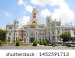 Small photo of MADRID, SPAIN - JULY 2, 2019: the main facade of the City Hall, located at Plaza de Cibeles square, City Council of Madrid, Spain