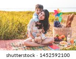 beautiful asian mother and son... | Shutterstock . vector #1452592100