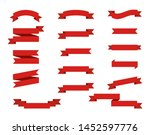 set red ribbons banners flat... | Shutterstock .eps vector #1452597776