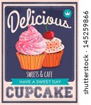 Vector Vintage Styled Cupcakes...
