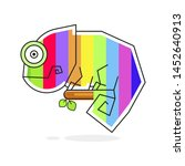 Multicolored Chameleon Sitting...