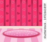 room with pink heart wallpaper. | Shutterstock .eps vector #1452661859
