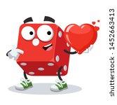 cartoon casino red dice cube... | Shutterstock .eps vector #1452663413