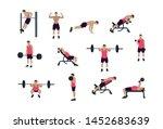 man training at gym. vector... | Shutterstock .eps vector #1452683639