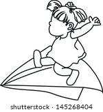cartoon playing kite | Shutterstock .eps vector #145268404