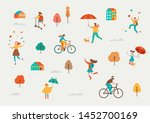 autumn  fall scene with various ... | Shutterstock .eps vector #1452700169