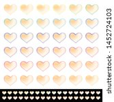 hearts set with a light gold... | Shutterstock .eps vector #1452724103