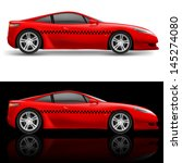 raster version. red sports car... | Shutterstock . vector #145274080