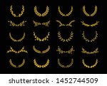 set of different golden... | Shutterstock .eps vector #1452744509