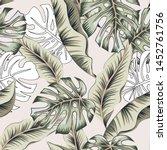 tropical banana  monstera palm... | Shutterstock .eps vector #1452761756