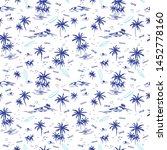 summer palms seamless pattern... | Shutterstock .eps vector #1452778160