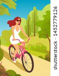 Woman Cycling  Fitness Sport...