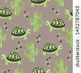Stock vector seamless pattern with cute tortoise and cactus 1452787043