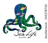 marine life on background in... | Shutterstock .eps vector #145278733