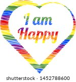 colorful heart  i am happy | Shutterstock .eps vector #1452788600