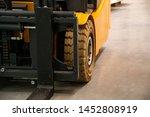 Forklift Truck. Wheels. Close...