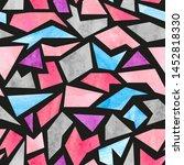 seamless watercolor mosaic... | Shutterstock .eps vector #1452818330