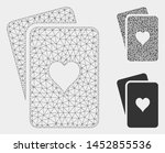 mesh hearts playing cards model ... | Shutterstock .eps vector #1452855536