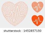 mesh heart ekg model with... | Shutterstock .eps vector #1452857150
