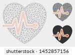 mesh heart pulse model with... | Shutterstock .eps vector #1452857156