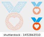 mesh heart medal model with... | Shutterstock .eps vector #1452863510