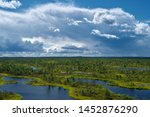 Panoramic view of swamp in the Great Kemeri Bog with the green mosses, bog pines, pools and small lakes with reflections of blue sky and stormy clouds on sunny summer day