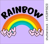 rainbow hearts slogan print... | Shutterstock .eps vector #1452895823