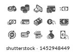 money and payment icons. cash ... | Shutterstock .eps vector #1452948449