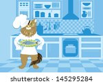 illustration of cat chef who... | Shutterstock .eps vector #145295284