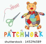 Patchwork Background With Bear  ...